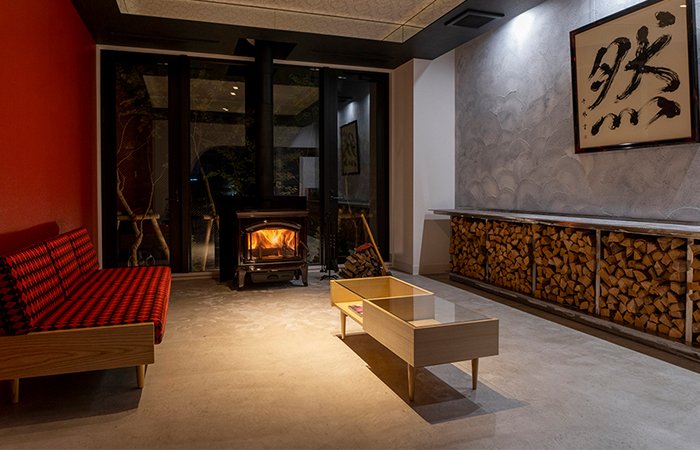 Lobby with a fireplace